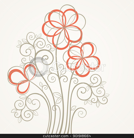 Floral clipart abstract Vector flower Abstract stock flower