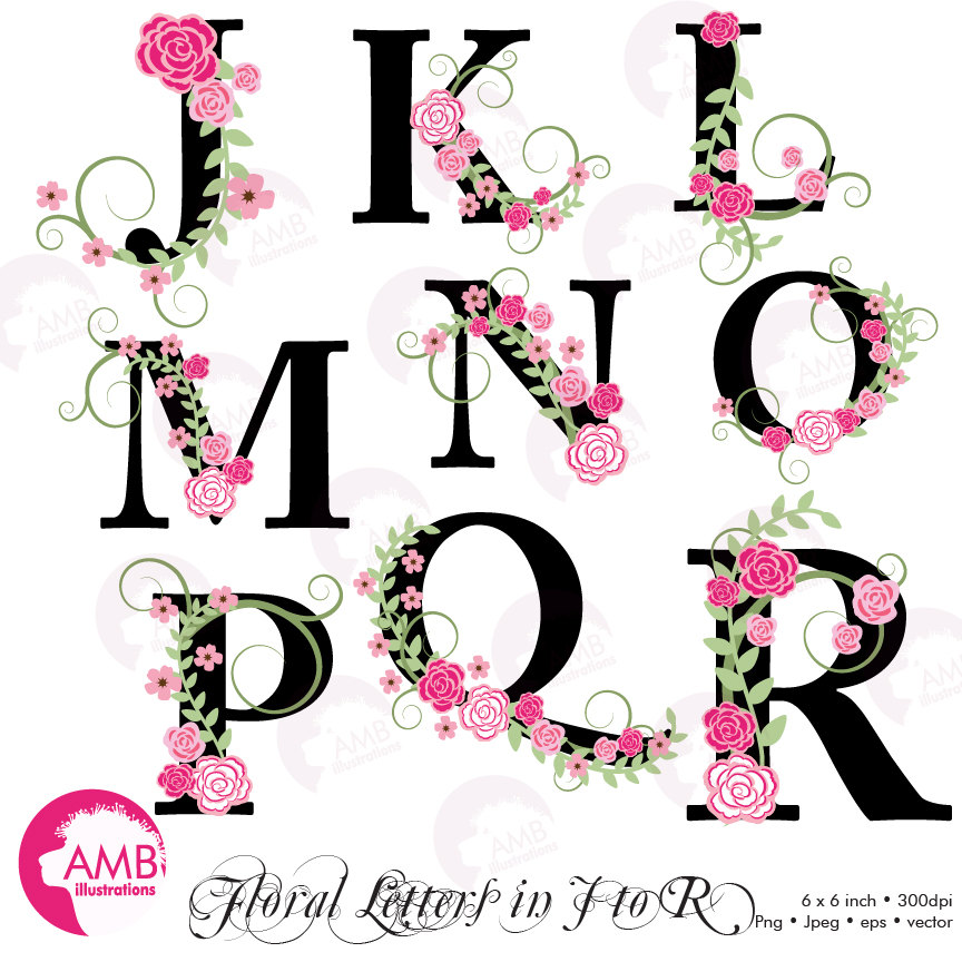 Floral clipart alphabet Use J digital Floral Alphabet