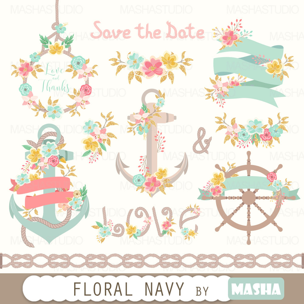 Floral clipart anchor NAVY navy clipart png 16