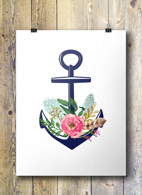 Floral clipart anchor More navy feathers Pinterest images