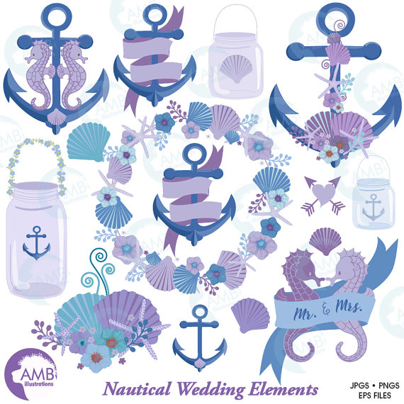 Floral clipart anchor Chic Clipart Commercial AMBillustrations Use