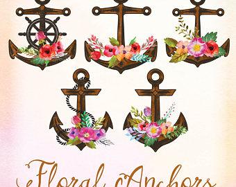 Floral clipart anchor Nautical Floral Beach Floral Art