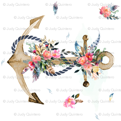 Anchor clipart floral Degrees 90 90 Anchor Boho