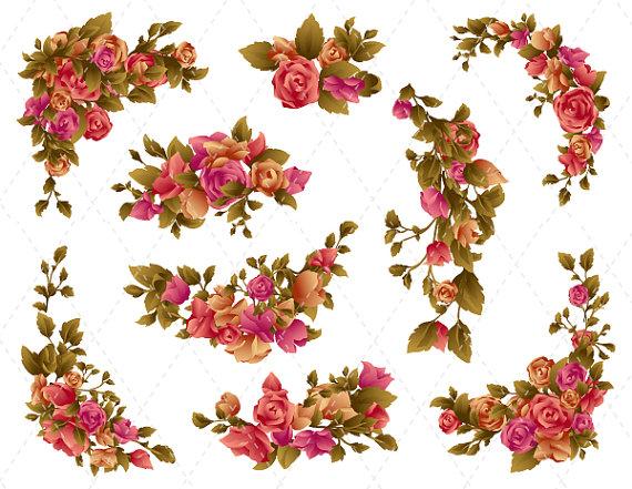 Pink Rose clipart flower bouquet Red Antique & Bunch Flower