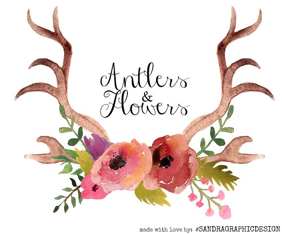 Antler clipart watercolor  clip Market Creative and
