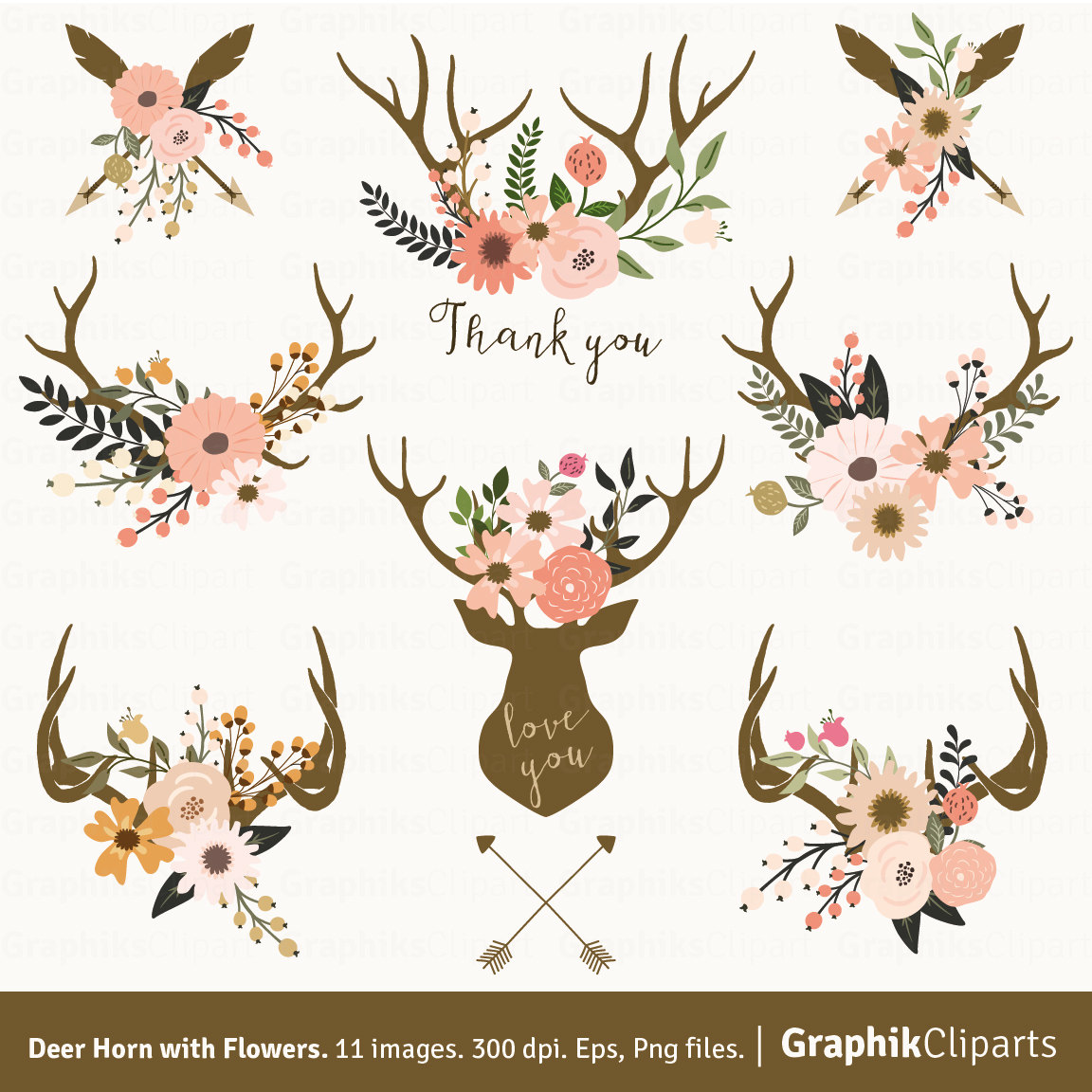 Antler clipart printable Floral Download Art images with