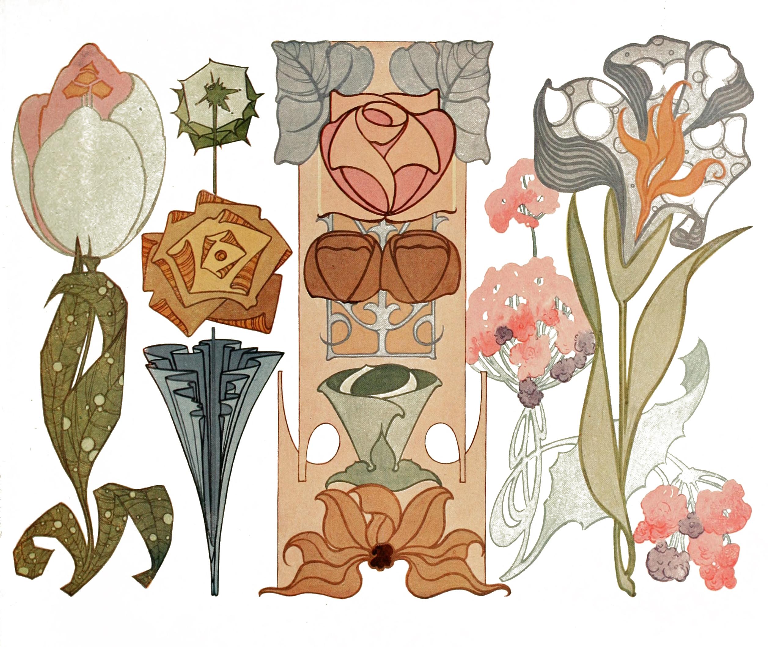 Floral clipart art deco Art collection Art flower clipart