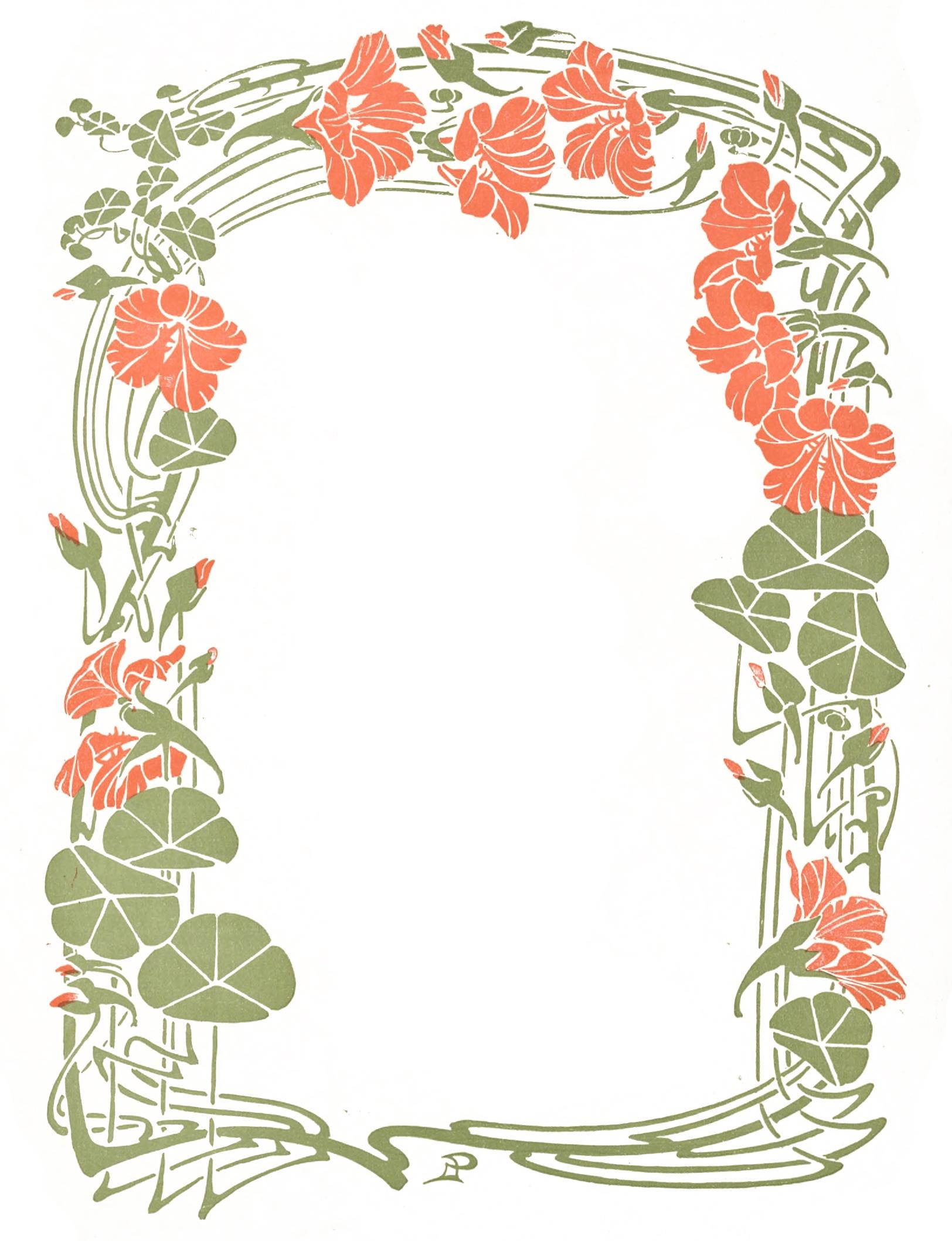 Floral clipart art deco Frame Frame Nouveau Decorative Nouveau