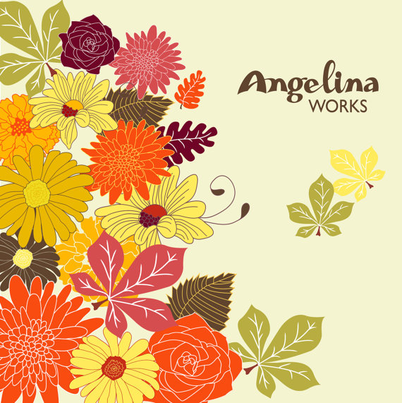 Orange Flower clipart fall flower Autumn floral on AngelinaWorks Flowers