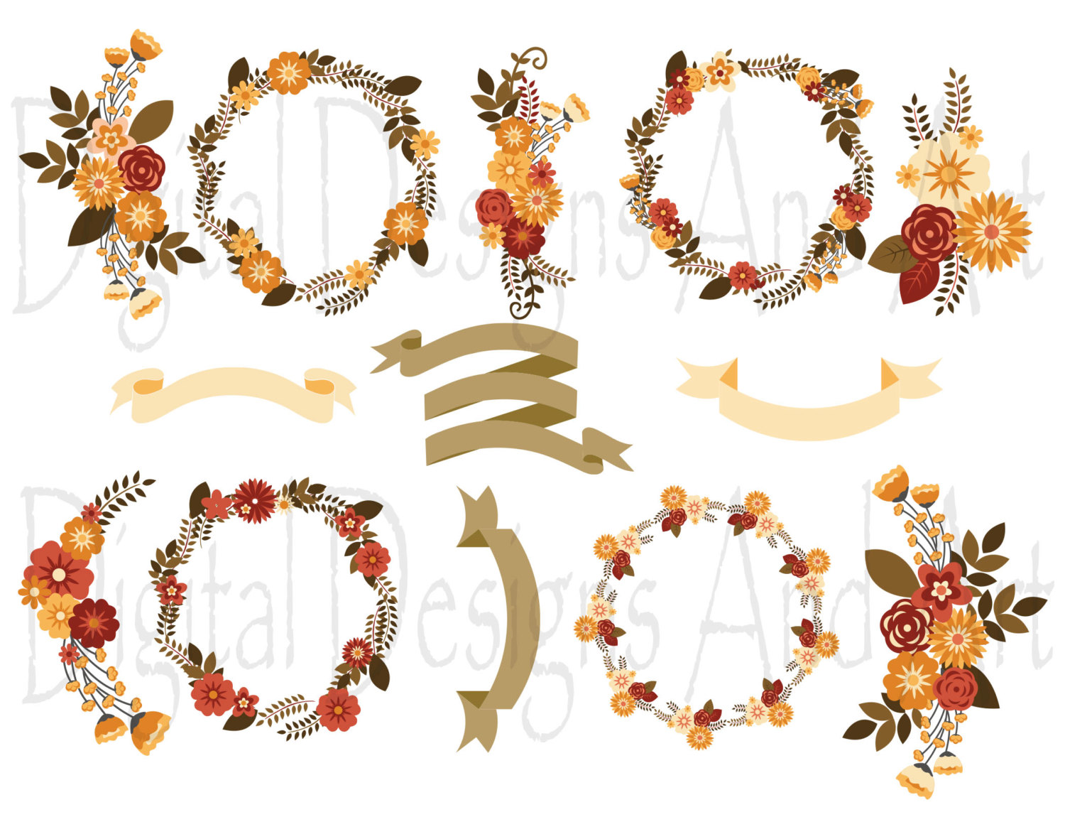 Orange Flower clipart fall flower Autumn floral  is a
