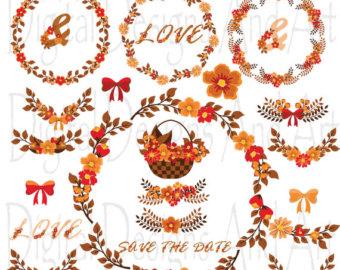 Orange Flower clipart fall flower Autumn Wedding Fall clipart flower
