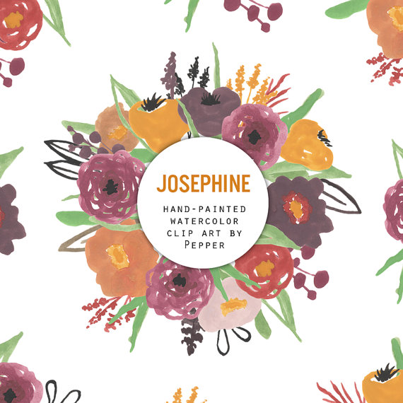 Floral clipart autumn flower Josephine Flowers Illustrations DOWNLOAD INSTANT