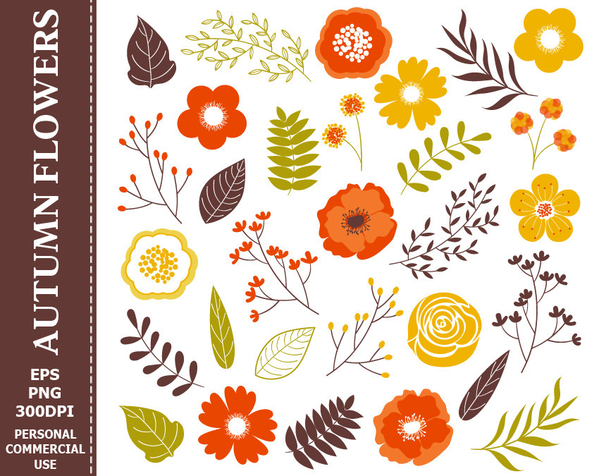 Floral clipart autumn flower A file Leaves  Flowers