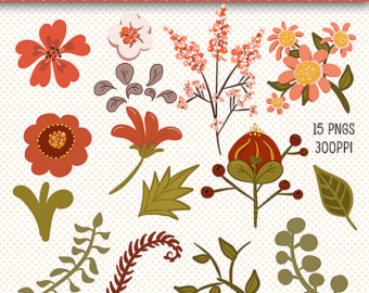 Floral clipart autumn flower Art Beautiful Elements Art Digital