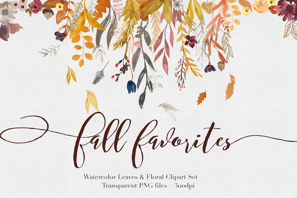 Floral clipart autumn flower Watercolor – The Rabbit Autumn