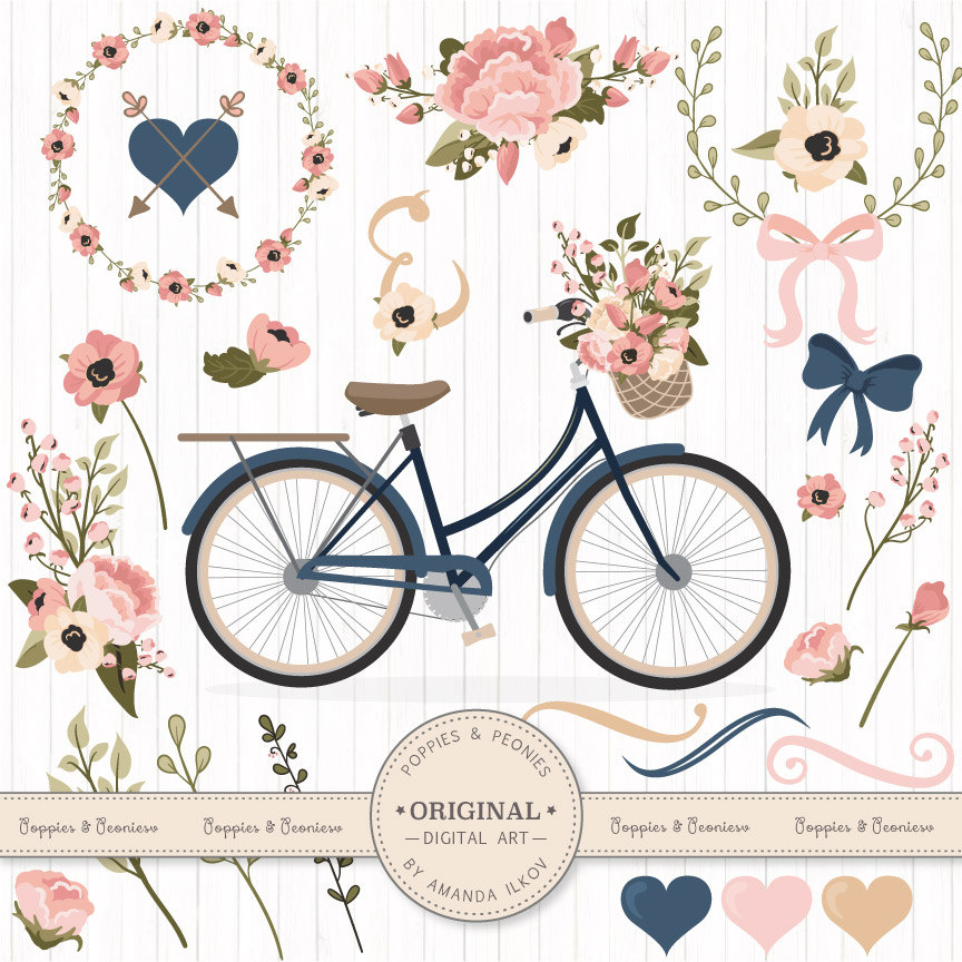 Floral clipart bicycle Blush Bicycle & Navy this