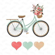 Floral clipart bicycle Vector basket bike Coral Clipart