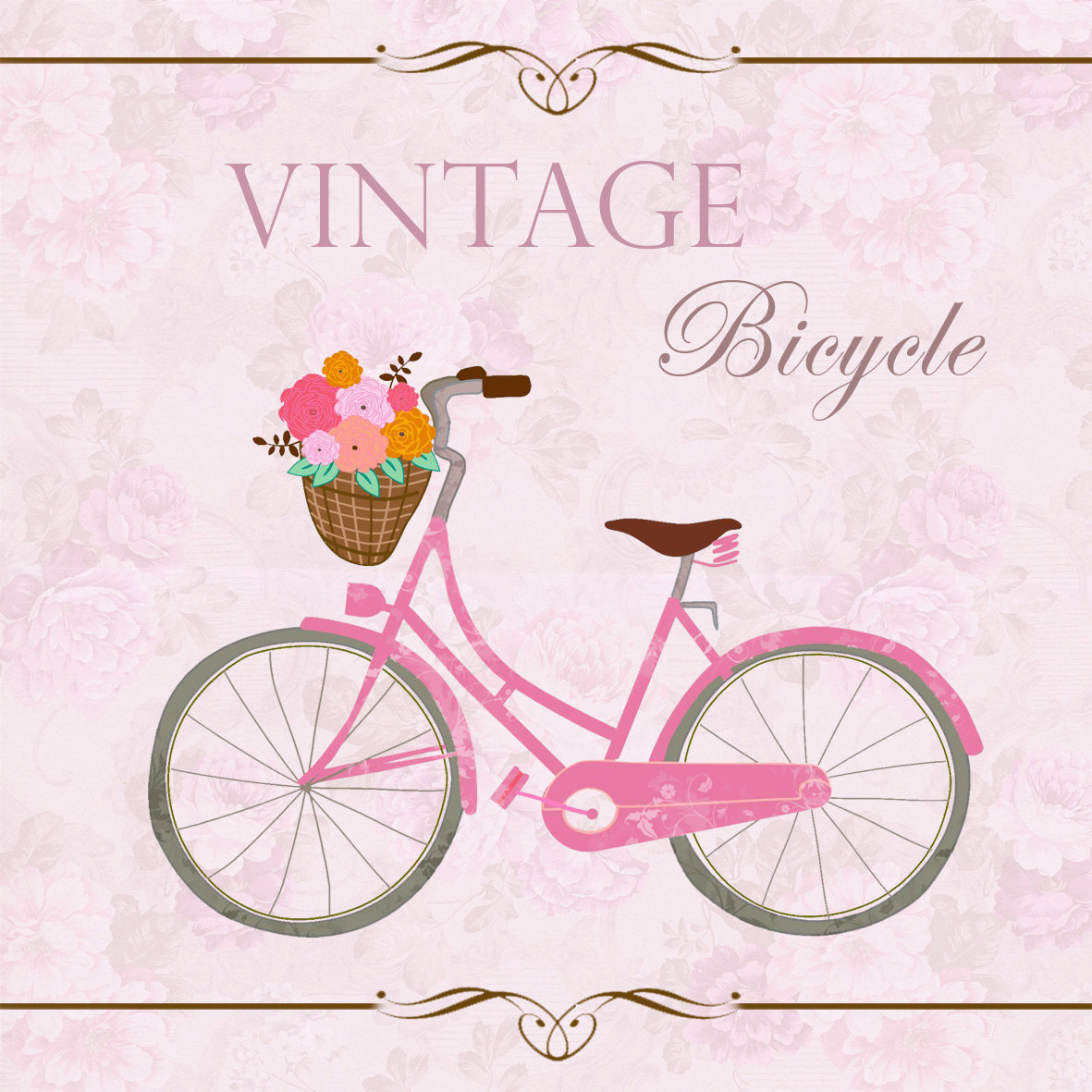 Floral clipart bicycle ART