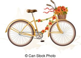 Floral clipart bicycle  EPS 28 flowers bicycle