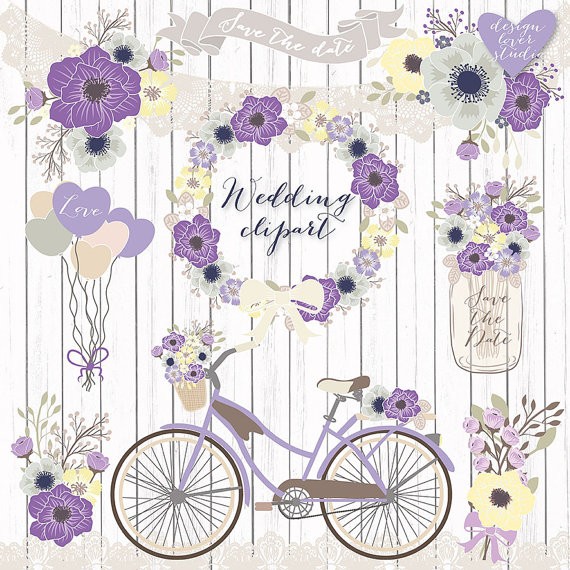 Floral clipart bicycle Clipart wedding clipart Clipart Clipart