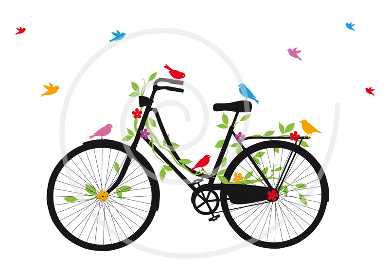 Bike clipart vintage bicycle  SVG flowers clip flowers