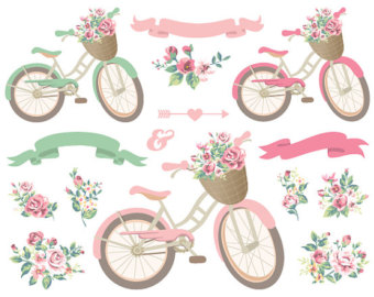 Floral clipart bicycle Wedding Clipart Pink and Bicycle