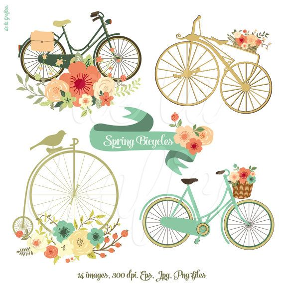 Floral clipart bicycle About tag IllustrationVintage Pinterest best