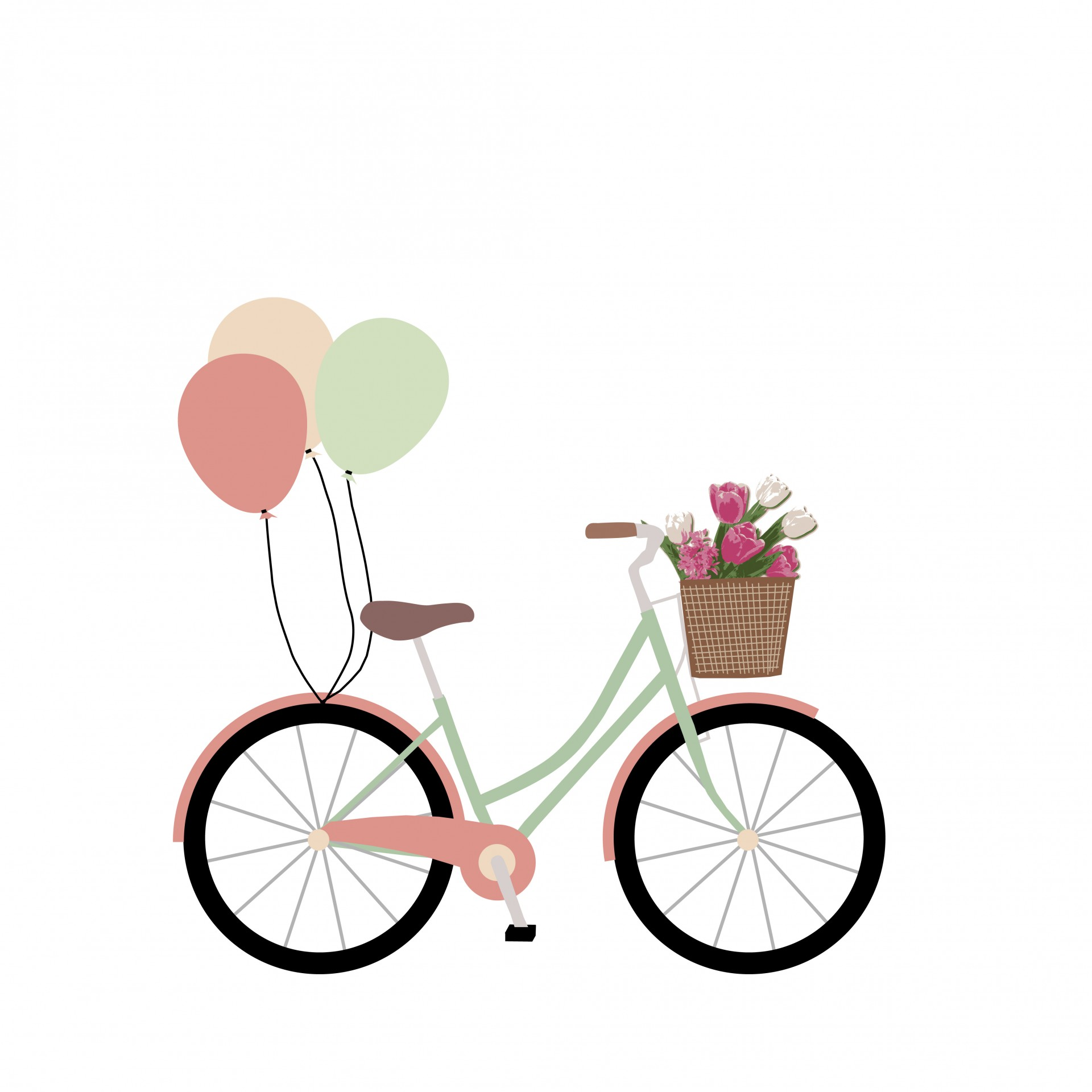 Floral clipart bicycle Free Stock Clipart Public Bicycle