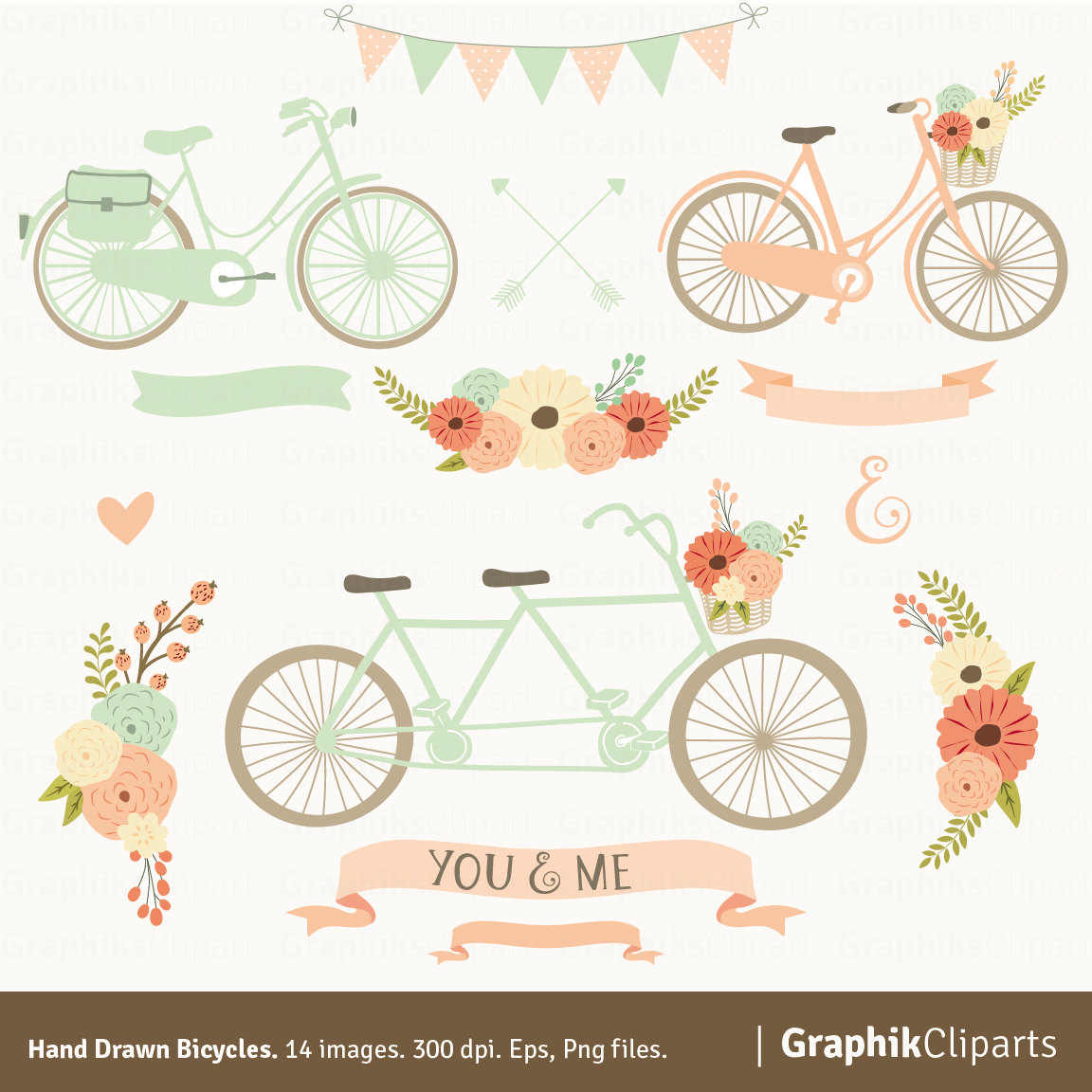 Floral clipart bicycle Bicycle clipart Tandem flowers Drawn
