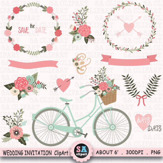Vintage Flower clipart floral garland Flowers Wedding Clipart