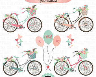 Floral clipart bicycle Hand Bike pack invitations Vintage