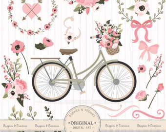 Floral clipart bicycle Bicycle Bicycle Bicycle Pink Bicycle
