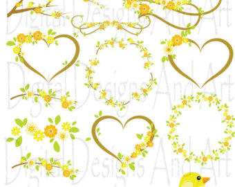 Yellow Flower clipart floral Yellow Label art Flower Tags