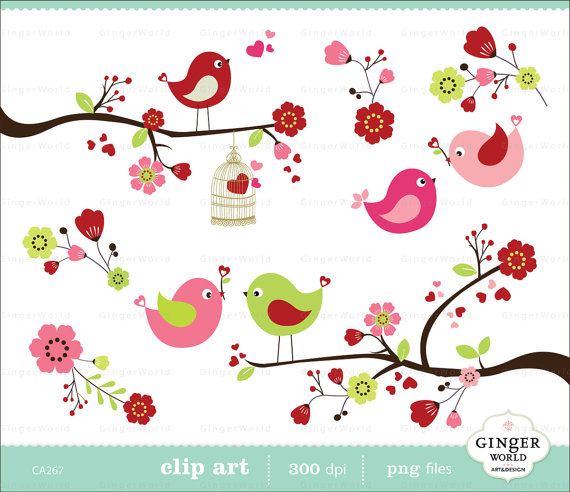 Bird clipart spring flower Spring blossom  for clip