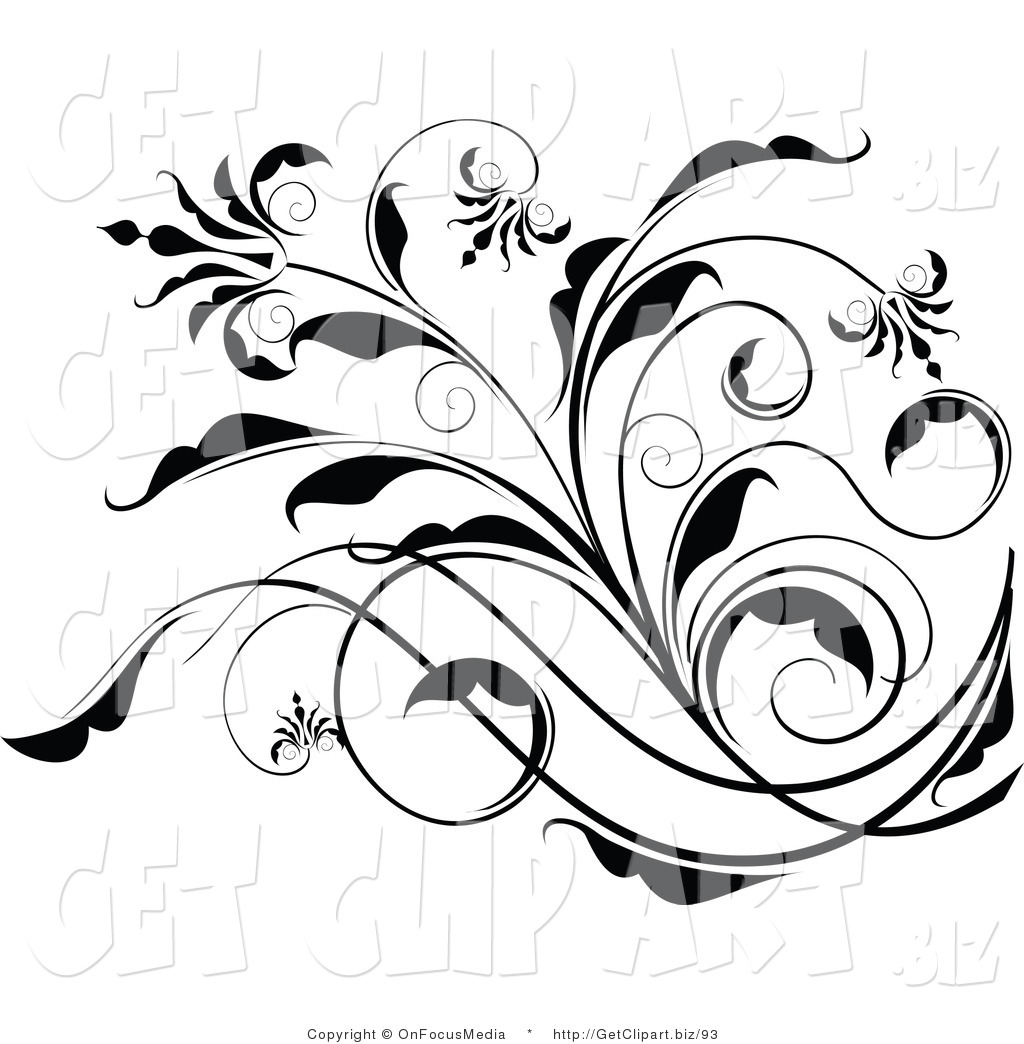 Floral clipart black and white White Images Free Black And