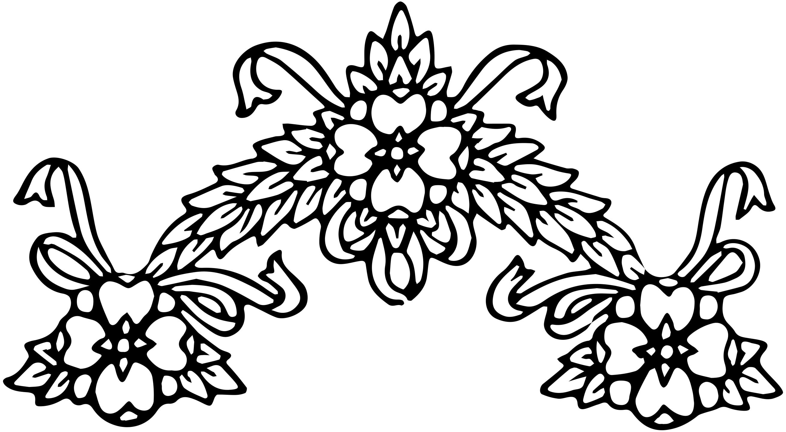 Floral clipart black and white Flower Clipart Black and Clip