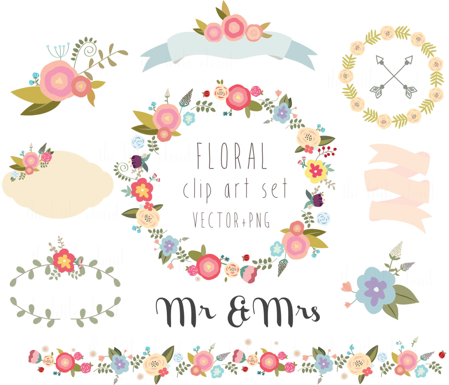 Floral clipart boarder Wreath clipart PNG Floral Digital