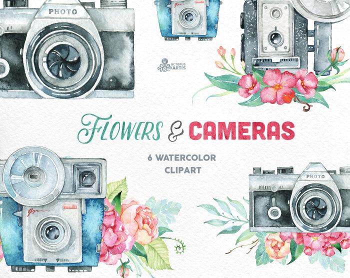 Camera clipart wedding photography Flower & invitation Handpainted 6