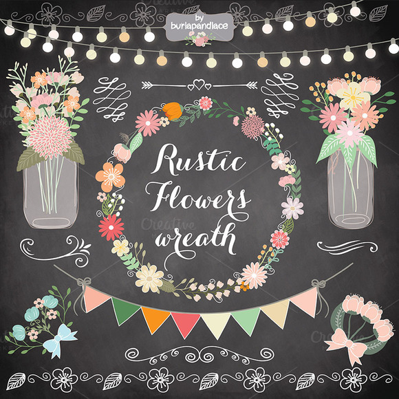 Rustic clipart wedding floral Clipart  Floral flower wreath