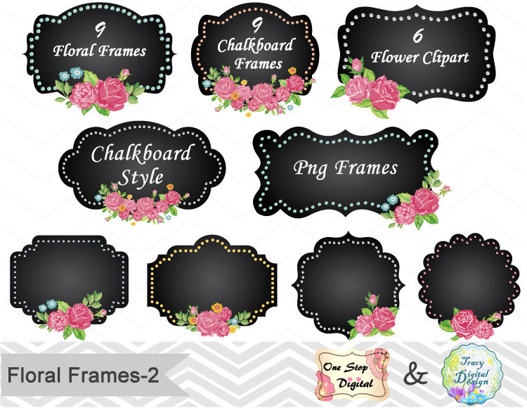 Floral clipart chalkboard Digital Flower Frame Digital Frame
