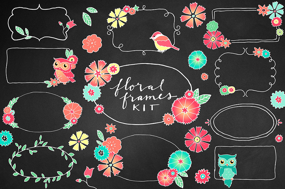 Floral clipart chalkboard Floral colorful borders Clipart flowers