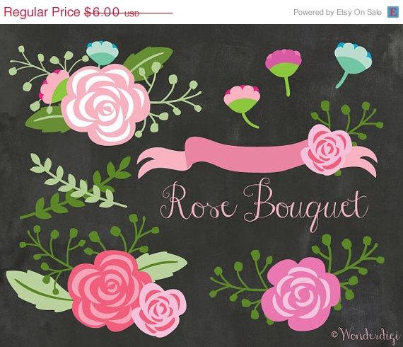 Vintage Flower clipart wedding floral Clipart 80% Clip Floral 80%