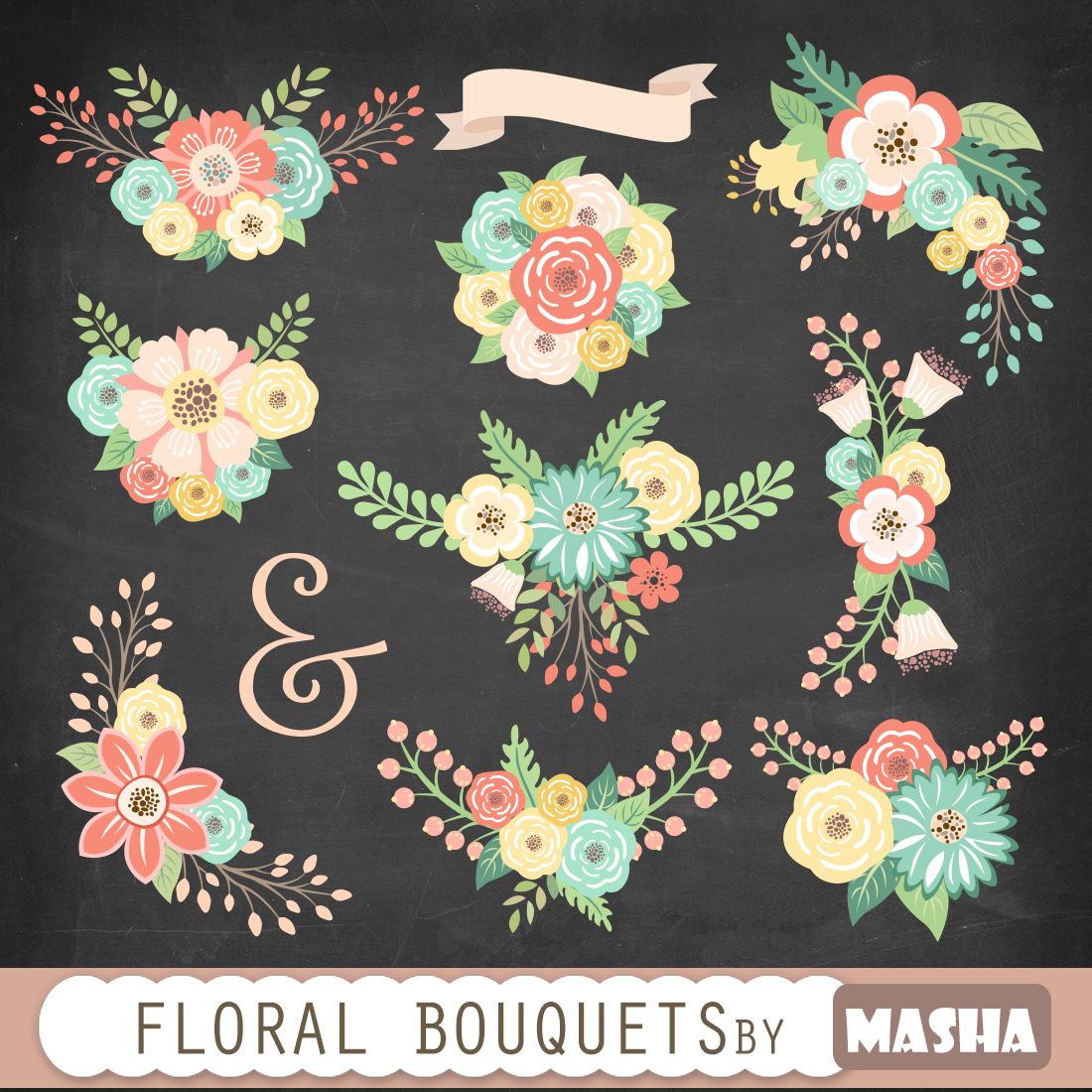 Floral clipart chalkboard Wedding clipart: clipart for Masha
