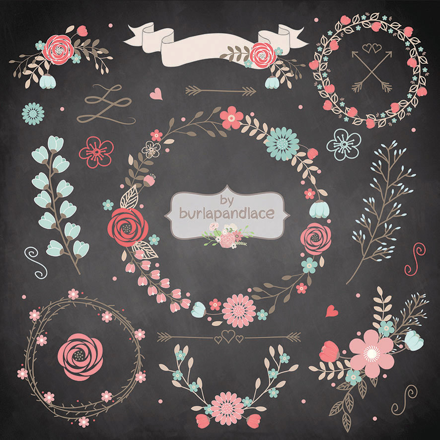 Floral clipart chalkboard Clip and Art Wreath Laurel