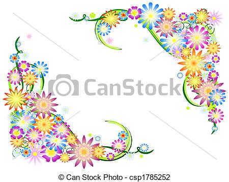 Illustration clipart colourful flower Spring Art Clip Illustration Stock