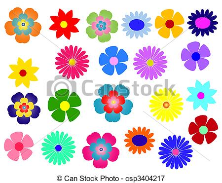 Illustration clipart colourful flower Big Illustrations Stock Set Big