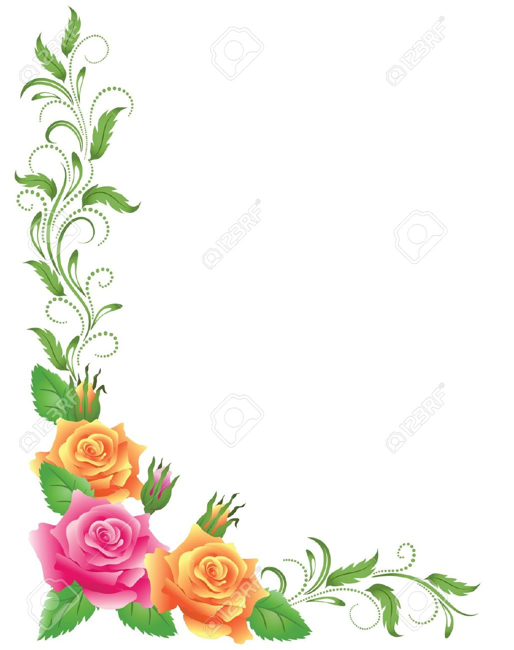 Yellow Flower clipart floral corner Border And Vector Stock Border