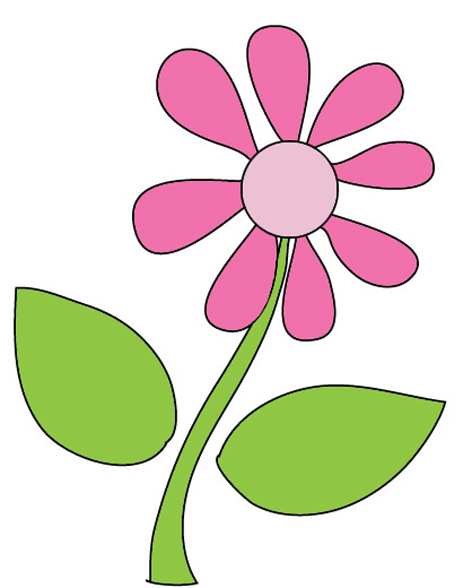 Stem clipart pink green flower Clip art flower Image drawing