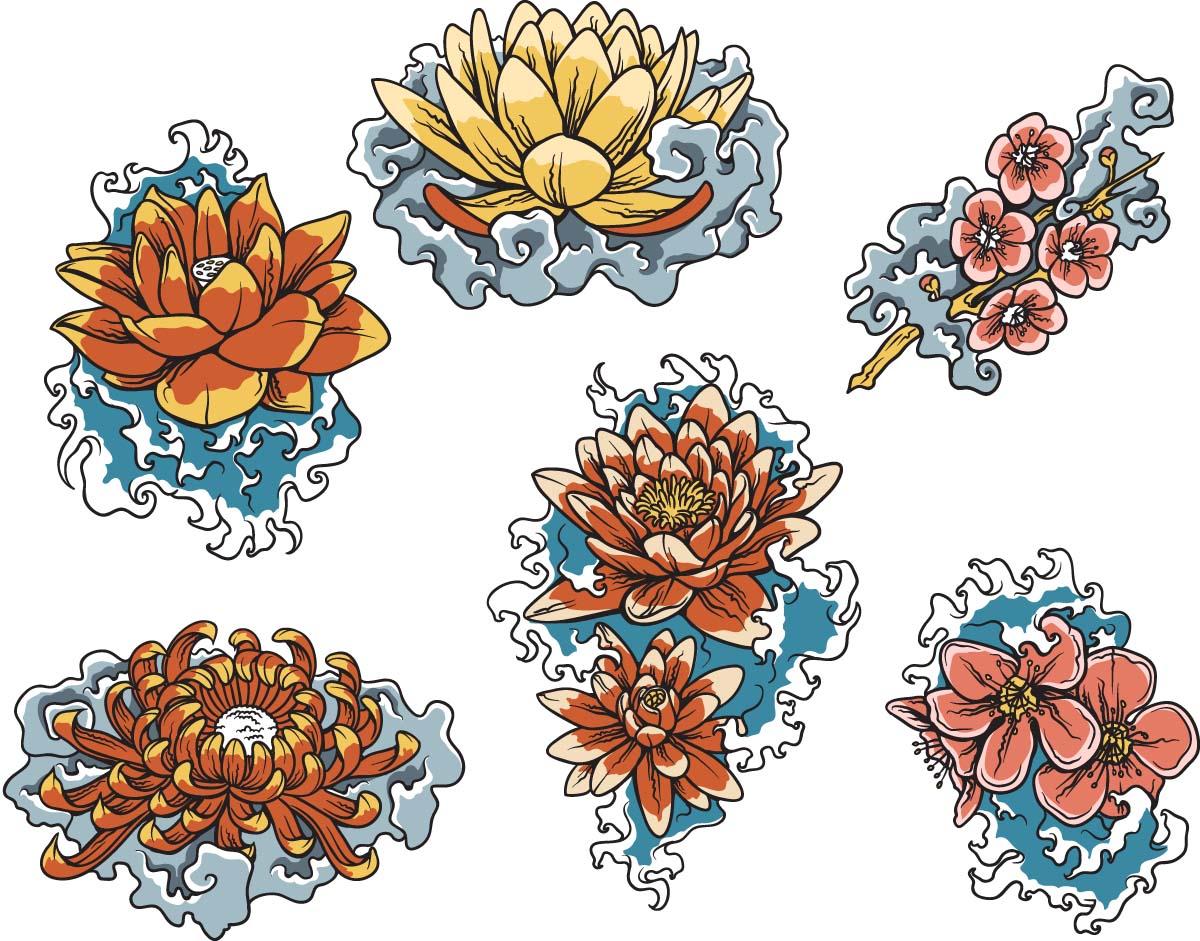 Floral clipart decorative symbol Vector clip vector set art