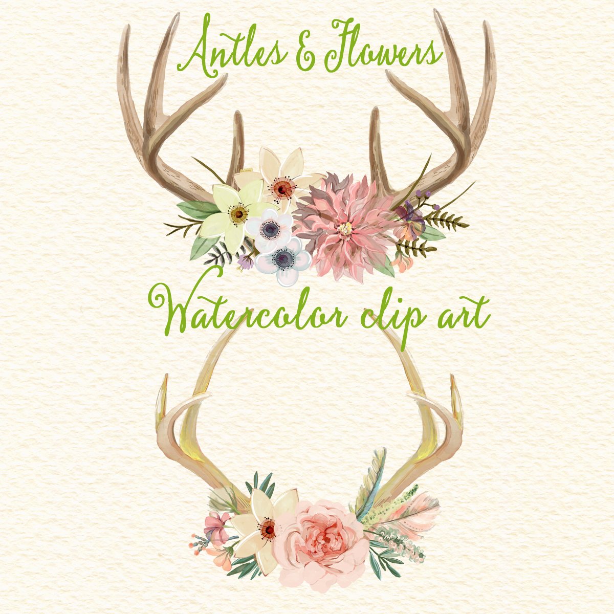 Antler clipart watercolor Antlers Wedding floral deer art